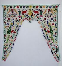Vintage Door Valance Window Decor Wall Hanging Hand Embroidered 42 x 44 inch X21