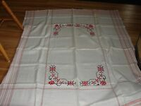 Vintage embroidered tablecloth- off-white w/ red & black cross stitch