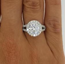 4 Carat Round Cut Halo Diamond Engagement D/VVS1 Ring 18k White Gold Finish