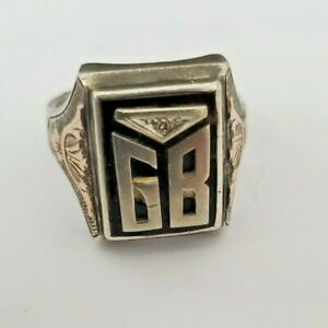 Vintage Onyx 10K Gold Sterling Silver 'GB' Signet Mens Ring 9.2 Grams Size 11