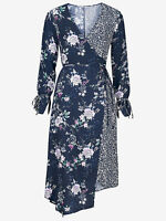 Brand New Size 10,12,14,16,18,20,22,24 Navy Mix Print Asymmetric Wrap Dress (b13