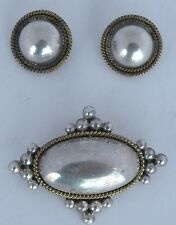 pin or pendant set, Mexico, Taxco Large Vintage sterling silver & brass earrings