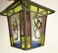Small Vintage French Lantern  Pendant Butterfly Amber Leaded Stained Glass HTF
