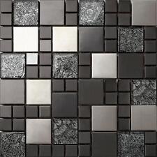 Gebürstete Edelstahl und Glas Mosaik Fliesen, schwarz und silber. Matte MT0002