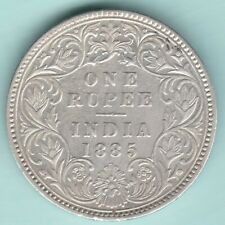 BRITISH INDIA 1885 VICTORIA EMPRESS ONE RUPEE SILVER COIN NEAR ABOUT UNC