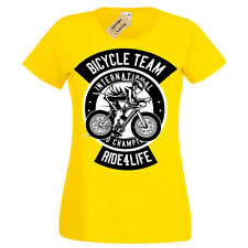 Bicycle Team T-Shirt Ride for life Womens Ladies