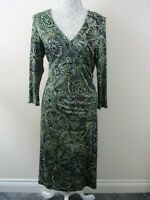 Principles dress size 14 stretch faux wrap green abstract floral straight pretty