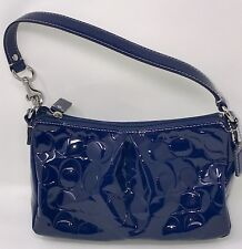 NEW COACH Patent Leather Blue Embossed Shoulder Handbag Purse and Dust Bag