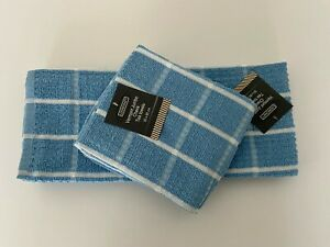 Pack of 3 Large Jumbo Kitchen Hand Tea Towel in Blue 50cm x 80cm Cotton Rich