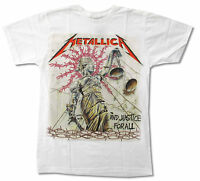 Metallica Justice For All White T Shirt New Official Band Merch Album Art