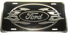 FORD METAL LICENSE PLATE FLAME FLAMING FIRE BLACK L657