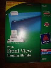 AVERY WHITE FRONT VIEW HANGING FILE TABS 5567