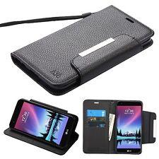 For LG K20V / VS501 Phone BLACK STRAP LEATHER WALLET PROTECTOR SKIN COVER CASE