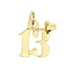 14Kt Yellow Gold Polished Thirteen Years 13 Charm Pendant