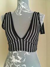 Bnwt Ladies Black & White Stripe Crop V Neck Bralet Top Size 8 New