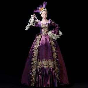 Victorian Medieval Dress Women Princess Court Royal Costume Masquerade Theater