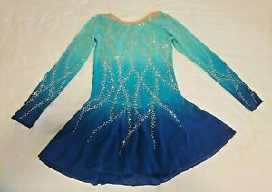 Custom made figure skating dress, light teal/blue competition ice skating dress