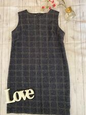 Laura Ashley Size 18 navy checked shift dress tunic wool blend smart work career