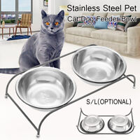 Durable Double Pet Bowls Dish Dog Cat Stand Feeder Food Water Feeding  C! YC**