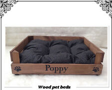 RUSTIC WOOD PET BED PERSONALIZED FOR YOUR PUPPY CAT PUG DOG chihuahua bull dog