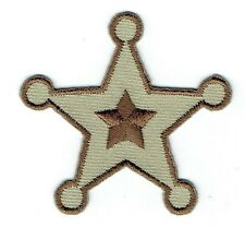 Iron On Embroidered Applique Patch Childrens Brown Western Police Sheriff Star