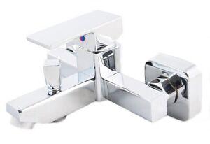 Bathtub Shower Mixer Tub Tap Faucet Brass Wall Mounted Bathroom Bath Silver 2