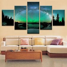Aurora Borealis Nature Landscape 5 Panel Canvas Print Wall Art