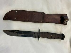 Vintage USMC Marines Kabar Fighting Combat Knife / Fixed Blade & Sheath