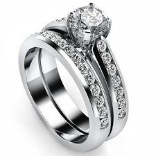 Natural Round Cut Diamond 1.40 Ct Gold Matching Bridal Ring Set Engagement Band