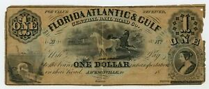 1800's $1 The Florida Atlantic & Gulf Central Rail Road Co. - FLORIDA Note