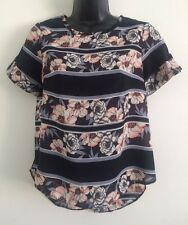 NEW Ex High street Black Floral Casual Work Blouse Shirt Tee Top Size 8-18