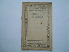 Edmund Blunden The Augustan Books of Modern Poetry antique paperback with poems