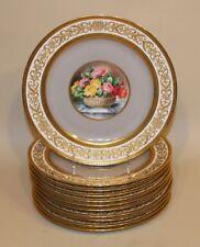 11 C. Ahrenfeldt Limoges France Gold Encrusted Round Floral Medallion Plates