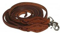 "NEW Showman 8' x 5/8"" Argentina Leather Split Reins With Barbed Wire Tooling!"