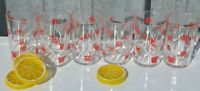 Set of 6 Swanky Peanut Butter Small Drinking Glasses/ Retro Vintage Flower Glass