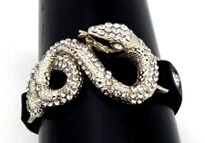 Snake Bracelet Leather CZ Rhinestone Snake Coil Silver Plated Double Snap New
