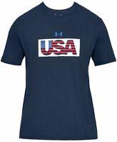 Under Armour Mens T-Shirt Blue Size Large L USA Flag HeatGear Graphic Tee 028