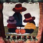 Vtg HAND WOVEN Peruvian WOOL BLANKET WALL HANGING RUG Tapestry Beaded Tassel Hat