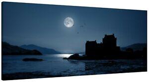 Eilean Donan Castle Blue Moon Panorama Canvas Print Wall Art Picture