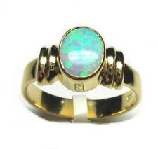 18CT YELLOW GOLD SOLID 8x6mm oval OPAL RING-3.9g-OW=0.62.ct