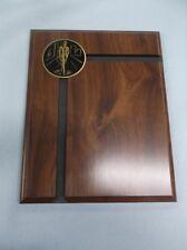 cherry finish wood plaque black brass insert male salesman trophy award 8x10