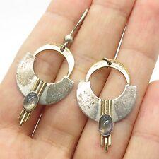 Signed Vtg 925 Sterling Silver Real Gemstone Unfinished Earrings