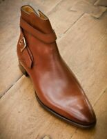 Brown Color Magnificiant Leather Handmade High Ankle Jodhpur Buckle Strap Boots
