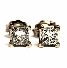 GIA 10k white gold .68ct SI2 H princess diamond stud earrings vintage estate