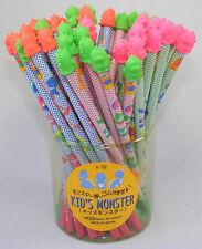 Made in Japan Kid's Monster HB Pencil w Little Monster Eraser Topper Iwako Blue