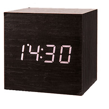 Alarm Clock Digital Time Date Temperature Display Cube USB Cable Black Box Gift