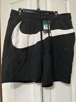 Nike Sportswear HBR Swoosh Fleece Shorts Black White [AR3161-010] Men's Size XL