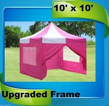 10'x10' Pop Up Canopy Party Tent EZ - Pink White - F Model Upgraded Frame