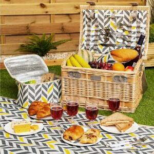 Luxury 4 Person Traditional Picnic Hamper Wicker Willow Basket & Blanket 29Pcs