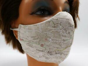 Road Map Print Washable Cloth Face Mask, Reusable Cotton Travel Theme 3 SIZES